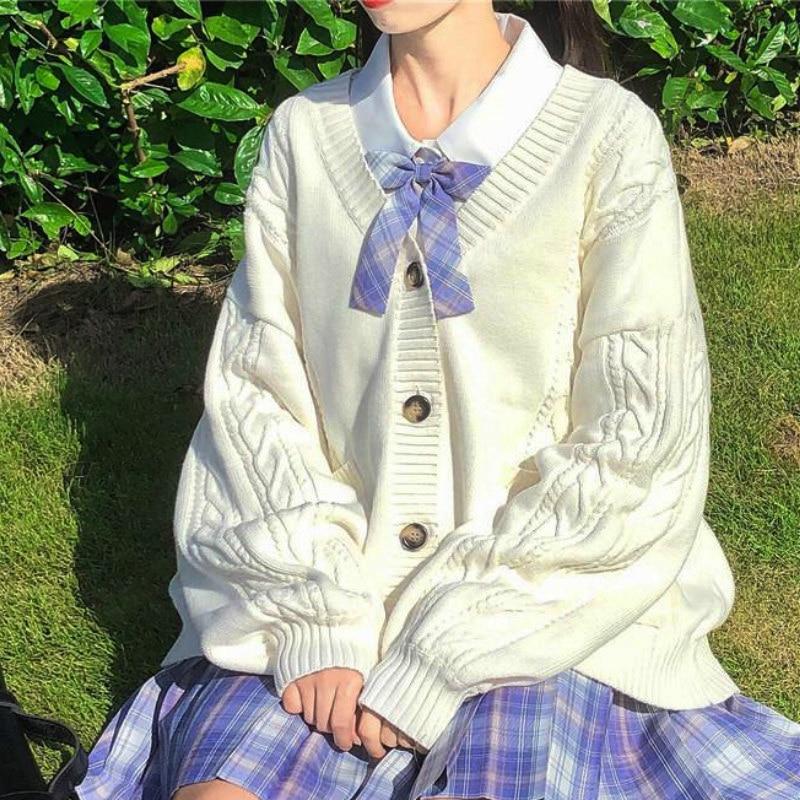 2021 new sweet cute girl knitting sweater lazy college style loose sleeve Harajuku girl JK uniform sweater coat s ~ 2XL