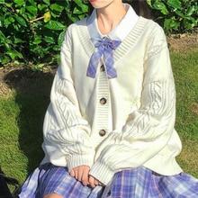 2021 new sweet cute girl knitting sweater lazy college style loose sleeve Harajuku girl JK uniform s