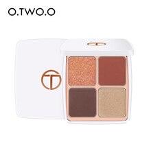 O.TWO.O 4 couleurs fard à paupières paillettes Palette haute Pigment imperméable à leau longue durée yeux maquillage mat ombre à paupières avec miroir