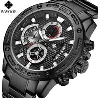 wwoor watch for men top luxury black full steel chronograph watches mens fashion sports waterproof quartz clock male wrist watch