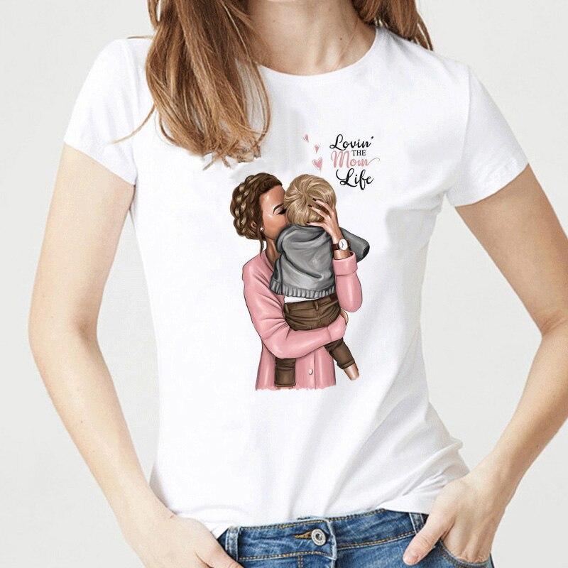 Super camisas de mamá para las mujeres amor de la madre imprimir blanco camiseta mujer algodón Vogue camiseta Camisetas ropa de calle
