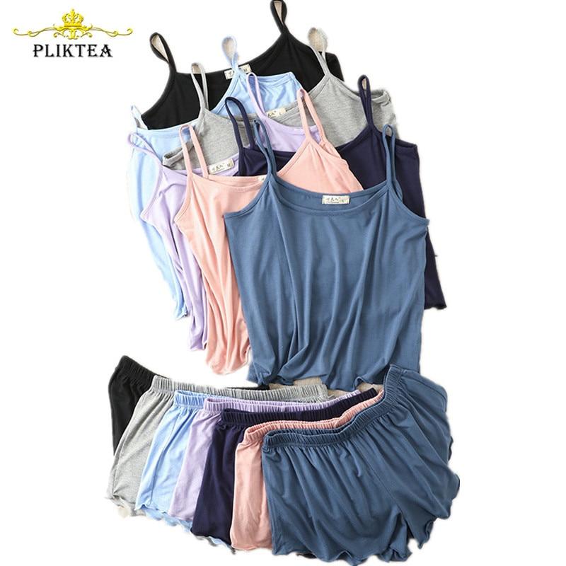 AliExpress - Summer Camisole Shorts Pajamas for Women Plus Size Summer Homewear Loose Soft Modal Pajamas Home Clothes 2 Piece Set Sleepwear