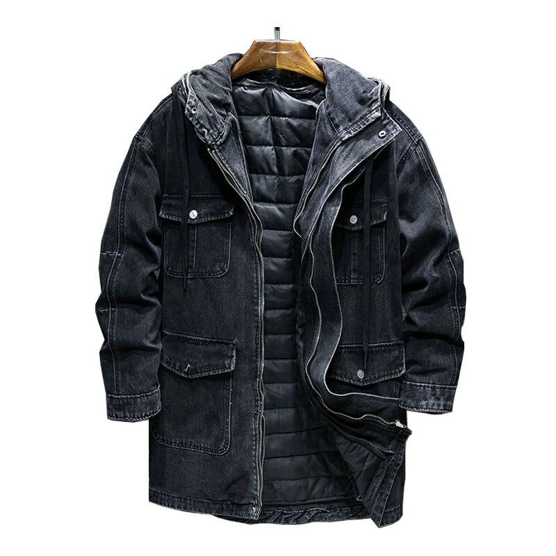 Mcikkny الرجال الشتاء الدافئة الدينيم الستر أفخم اصطف المعاطف الحرارية أبلى للذكور سترة حجم L-XXXL مصدات الرياح