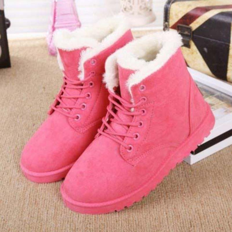 Новые модные зимние женские замшевые ботинки на шнуровке удобные теплые Нескользящие женские зимние ботинки на плоской подошве, 5KE306