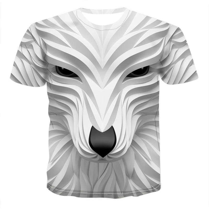 Новинка 2020, крутая Мужская футболка с 3D головой волка, модная повседневная футболка унисекс с забавными животными, летняя уличная быстросохнущая модная футболка