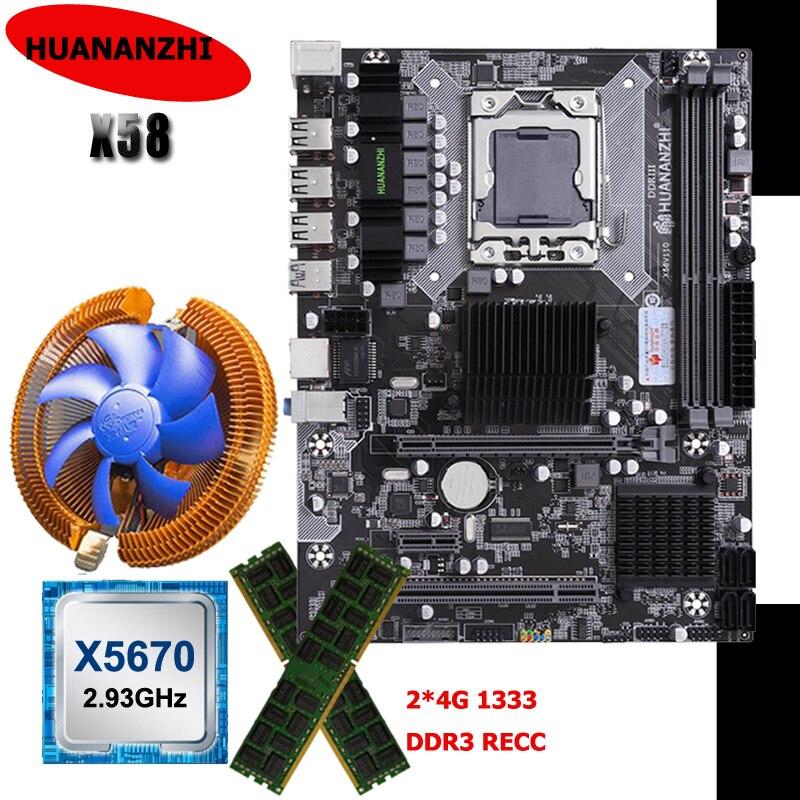 HUANANZHI X58 اللوحة الأم CPU RAM CPU برودة كومبو Xeon CPU X5670 2.93GHz العلامة التجارية الكبيرة 8G RAM 2*4G REG ECC مكونات الكمبيوتر لتقوم بها بنفسك