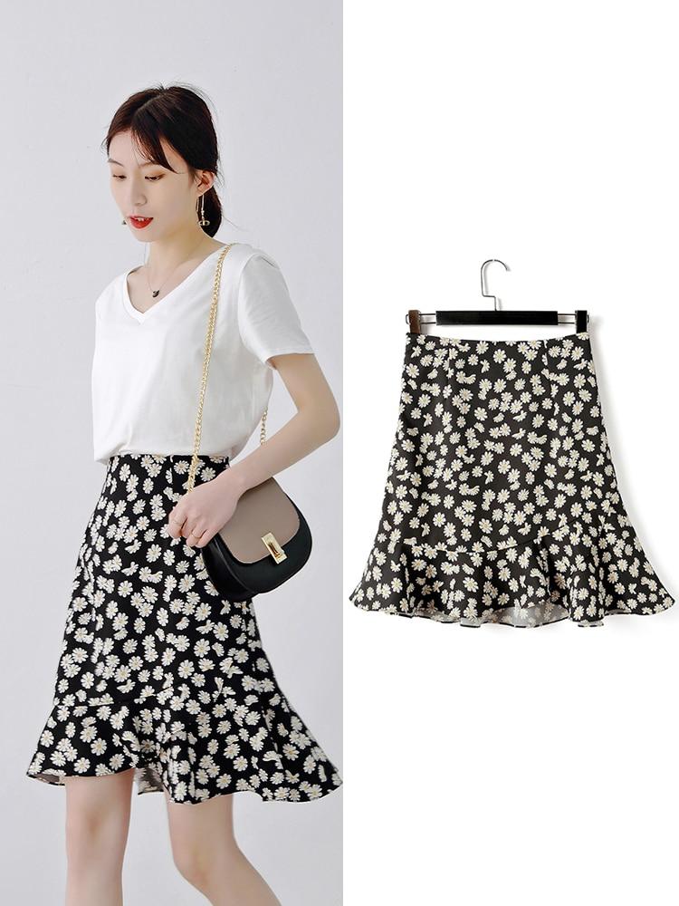 Women Summer New Fashion Short Floral Print Skirt Lady's Casual Plus Size 3XS-10XL High Waist Mini Mermaid Skirt