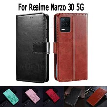 Cover For Realme Narzo 30 5G Case Etui Flip Wallet Stand Leather Book Funda On Realme Narzo30 Case M