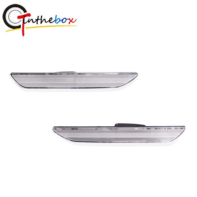 GTinthebox 2 uds lente negra ahumada/transparente para coche, Reflector de parachoques trasero, carcasa de luz de marcador lateral para Ford Mustang de 2015-2018