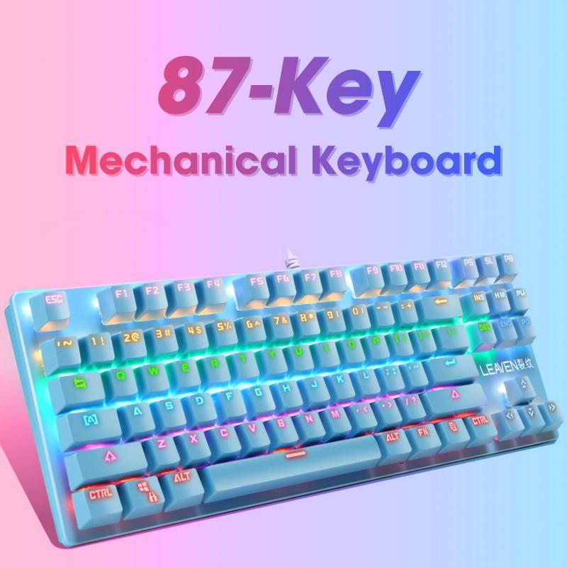 الأصلي K550 لوحة مفاتيح الألعاب الميكانيكية 87 مفاتيح USB السلكية LED الخلفية محور لوحة مفاتيح الألعاب الميكانيكية للاعبين الكمبيوتر المحمول