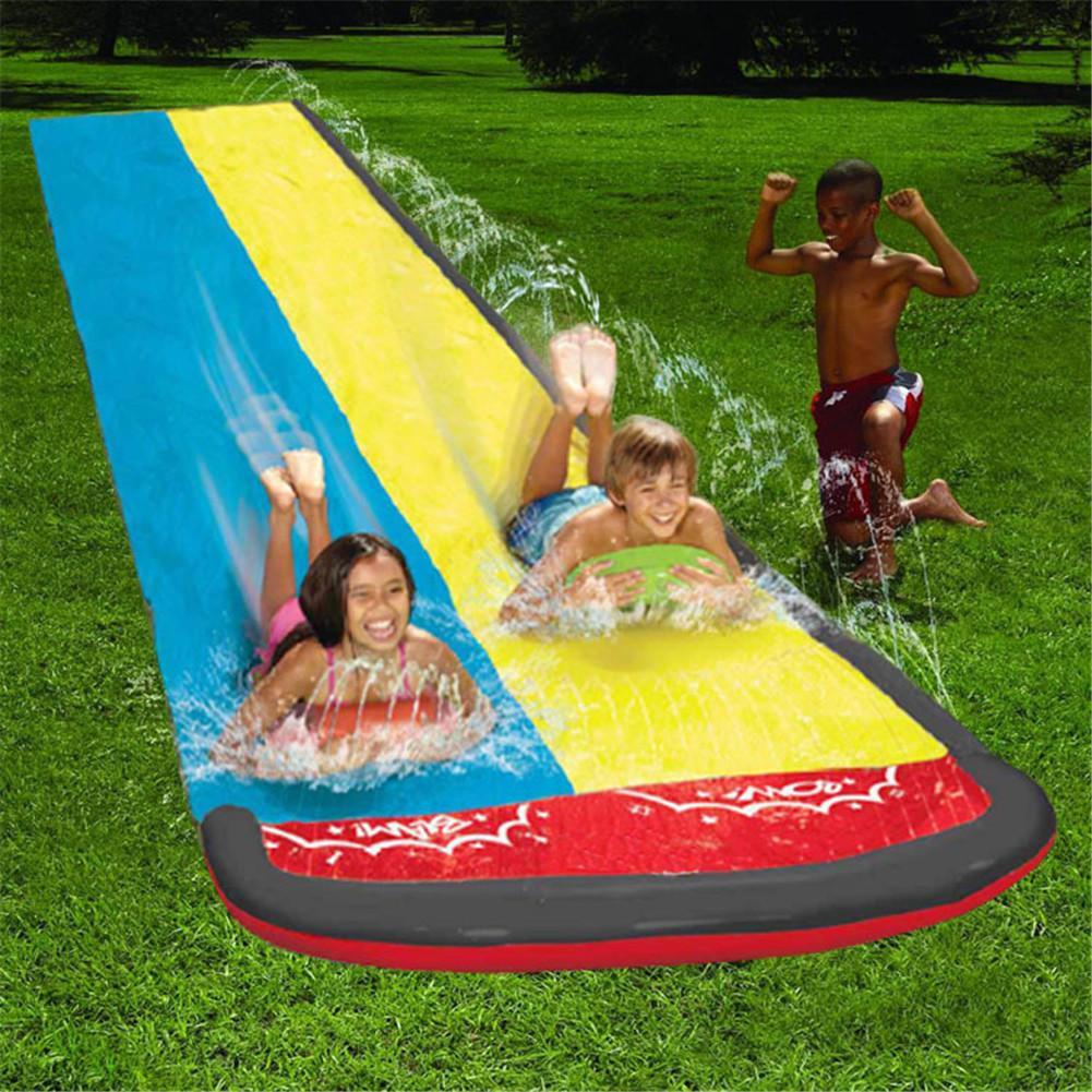 610*145cm Double Water Slide Kids Fun Lawn Water Slides Pools Surf Water Games Sprinkler Pad Inflatable Surfboard Kids Water Fun
