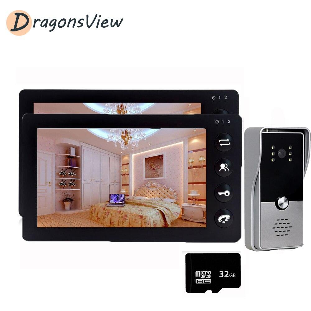 Wired Video Intercom Tür Telefon System 7 zoll 2 Monitore mit Outdoor Türklingel Kamera Unterstützung Motion Erkennung für Home Security