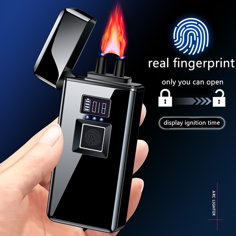 Real  Fingerprint Recognition Electronic   Usb Recharge Sense Touch Electric Arc  Display Power Lighter For Friends Gift