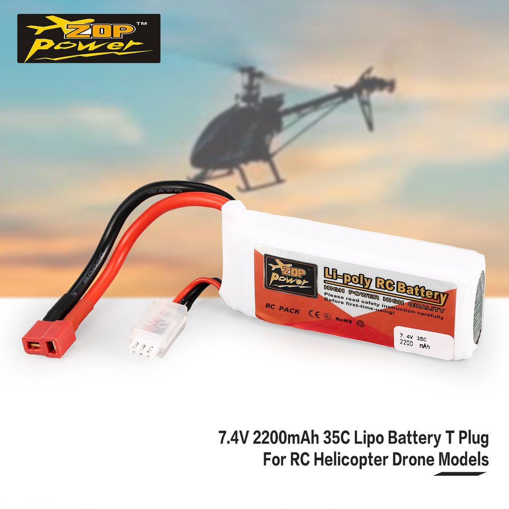 ZOP Power 7.4V 2200mAh 35C 2S 2S1P Lipo Battery T Plug Rechargeable For RC Racing Drone Helicopter Multicopter Car Model enlarge