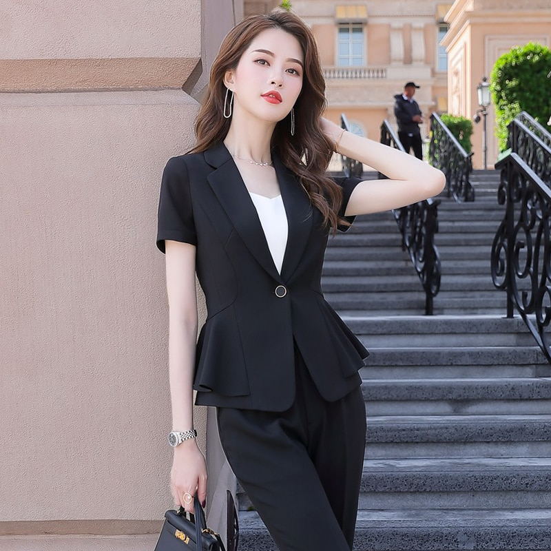 2020 Summer Short-Sleeve Small Suit Jacket Female Business Suit Female Suit Skirt Overalls Womens Suit Office Uniforms 2 Piece