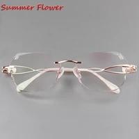 colored lenses women gradient tint prescription lenses anti resistance diamonds frame titanium rimless glasses for female