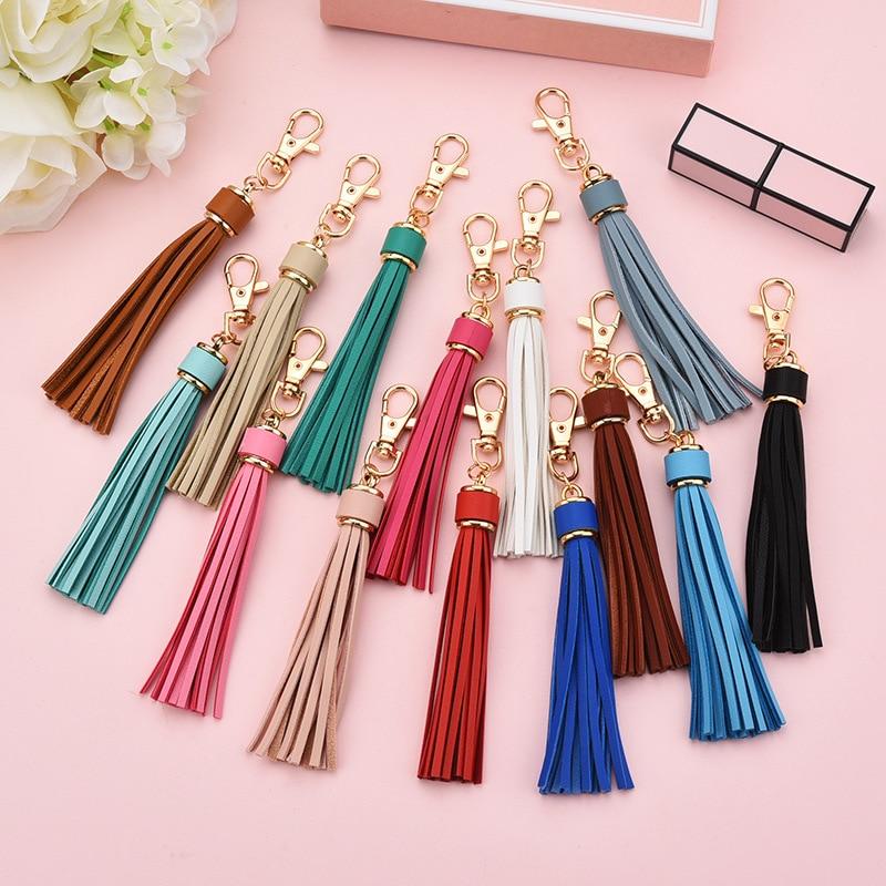 High End 5Pcs PU Leather Tassel Key Chain Ring Fringe Jewelry DIY Decorations Women Cute Long Tassel