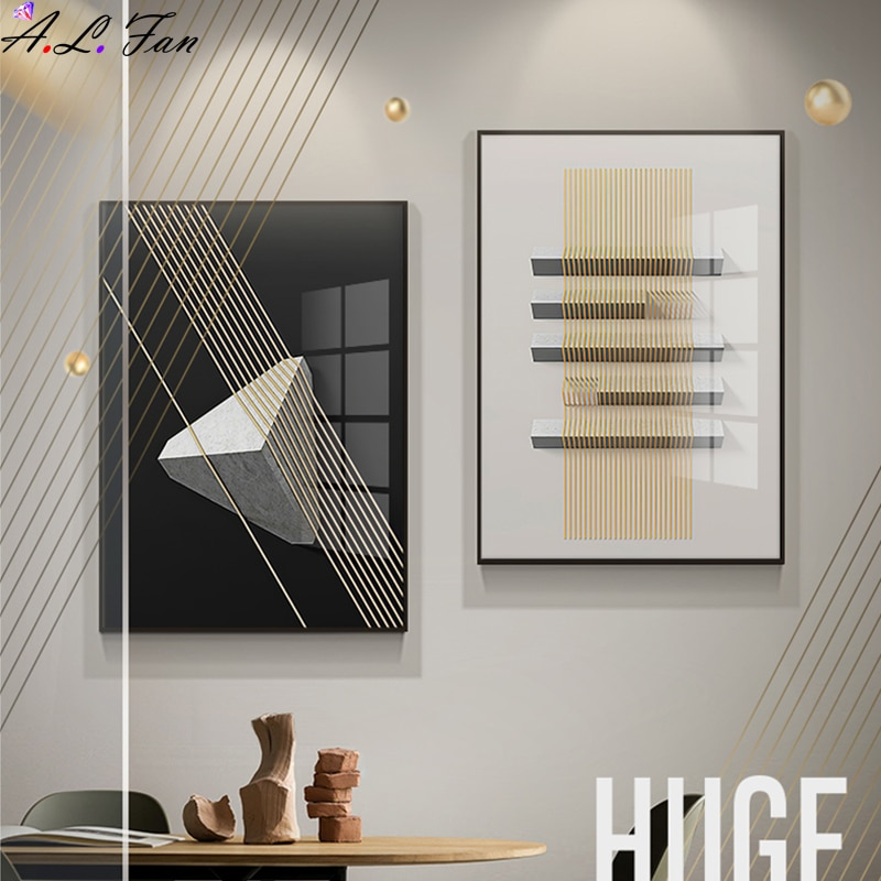 Simple geometric living room decoration painting abstract modern sofa background wall hanging painting model room wall painting
