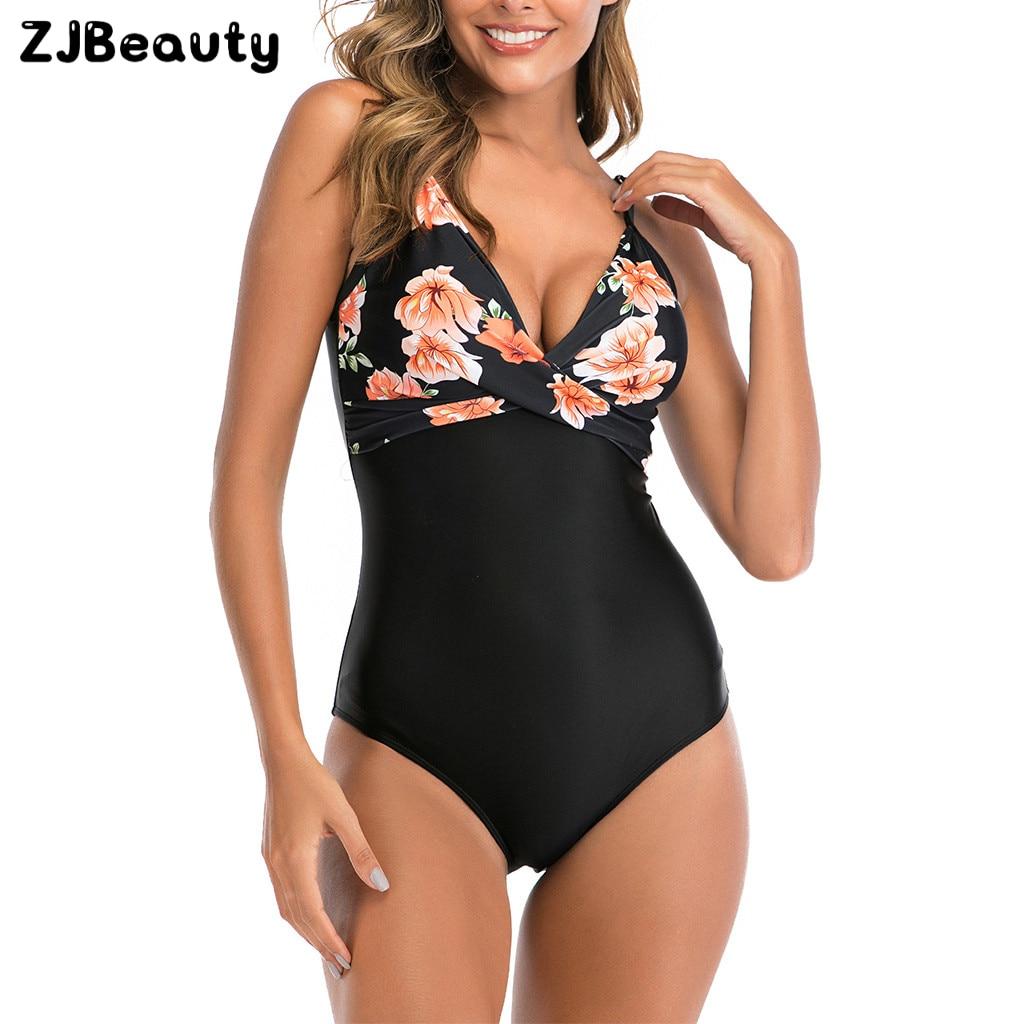 2020 mujeres de talla grande Takini de cintura alta Floral impreso una pieza traje de baño Swimuit mujer Retro Bikini stroje kapielowe damskie # g4