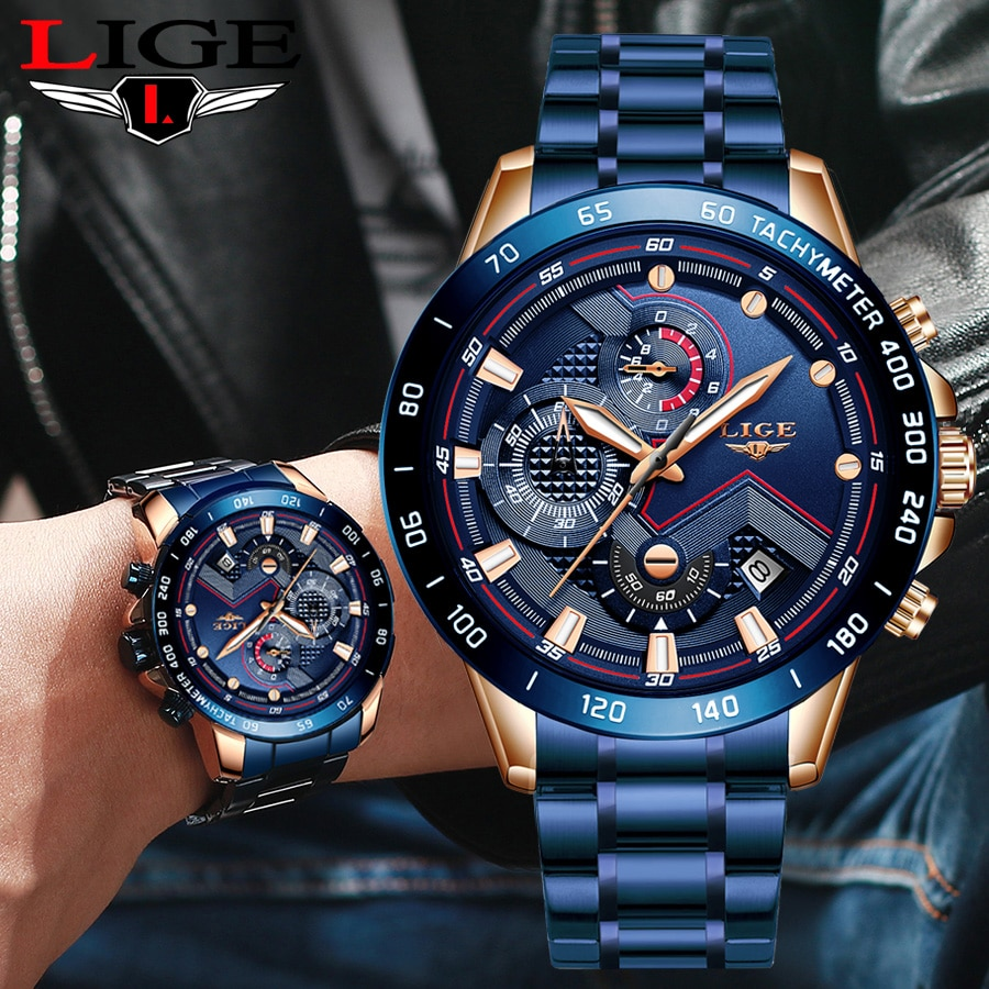 LIGE Business Men Watch Luxury Brand Blue Stainless Steel Wrist Watch Chronograph Army Military Quar