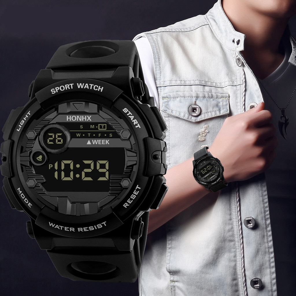 Men Sports Watches Fashion Chronos Countdown Men's Waterproof LED Digital Watch Man Military Clock R