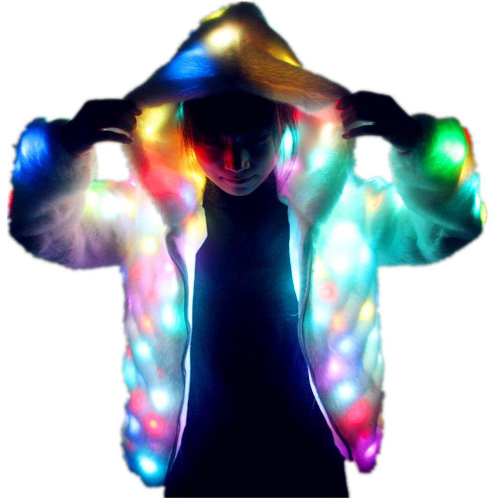 معطف فرو صناعي بإضاءة LED للنساء ، ملابس ديسكو ، أزياء دي جي LED بدلة تأثيري لعيد الميلاد والهالوين