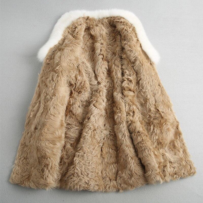 معطف شتوي من صوف التويد طويل بطانة خروف حقيقية للسيدات لعام 2020 ، معطف كبير من فرو الثعلب الطبيعي 18620 YQ1860