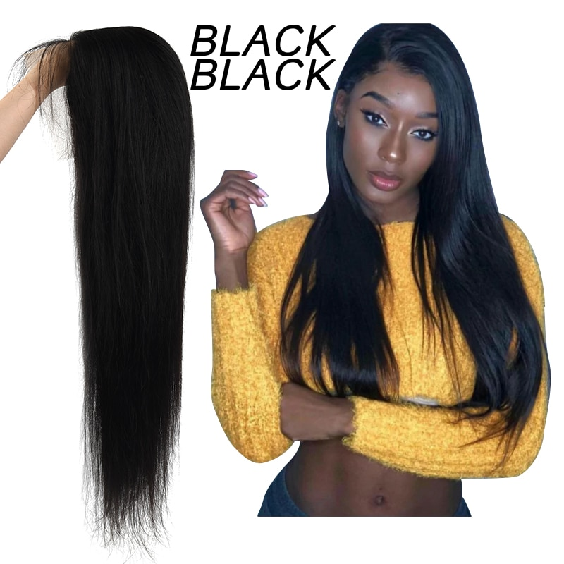BLACKBLACK Lace Front Human Hair Wigs Pre Plucked Brazilian Straight Lace Front Wig 150% Lace Frontal Wig 13*4 Closure Wig Remy