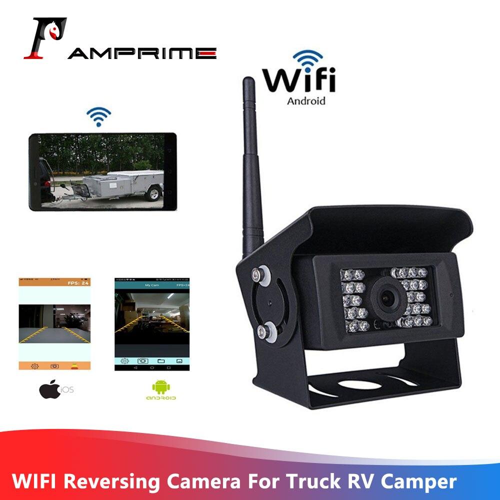 AMPrime WIFI 반전 카메라 대시 캠 트럭 RV 캠핑카 트레일러 차량 후면보기 카메라 작동 iphone 또는 Andriod 장치
