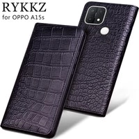 luxury genuine cow leather flip case for oppo a15s a55 f19 pro plus a94 5g flip cover handmake leather protective case