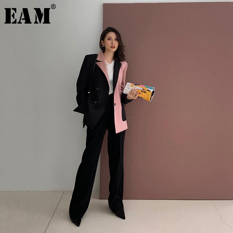 [EAM]  Women Black Contrast Color Big Size Blazer New Lapel Long Sleeve Loose Fit  Jacket Fashion Tide Spring Autumn 2020 1W482
