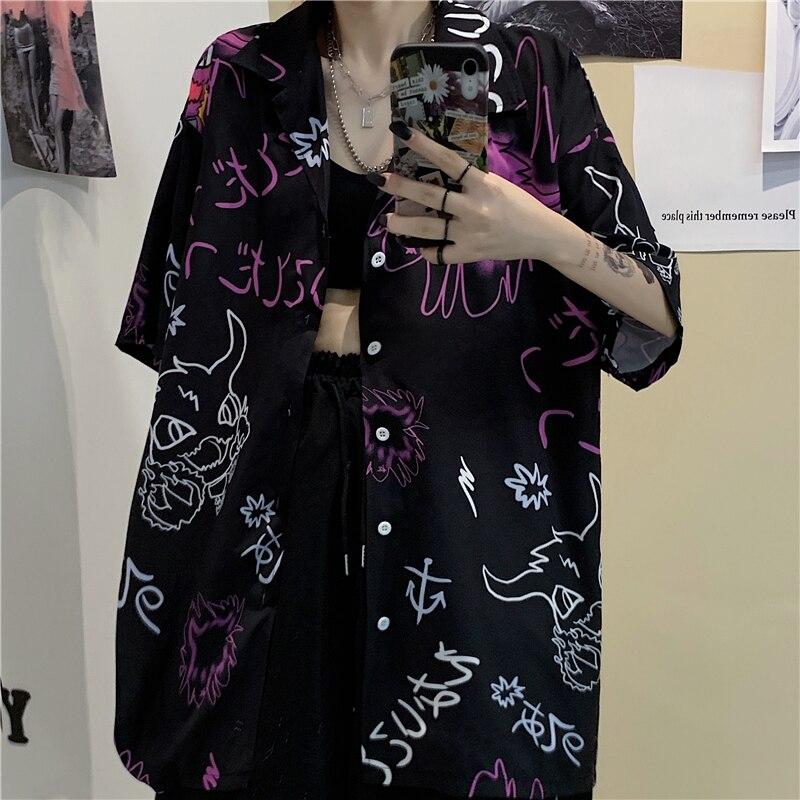 Camisa de mujer Harajuku Vintage Casual Graffiti dibujo impreso Cool mujer y hombre blusa 2020 verano Turn-Down Hip Hop mujer suelta