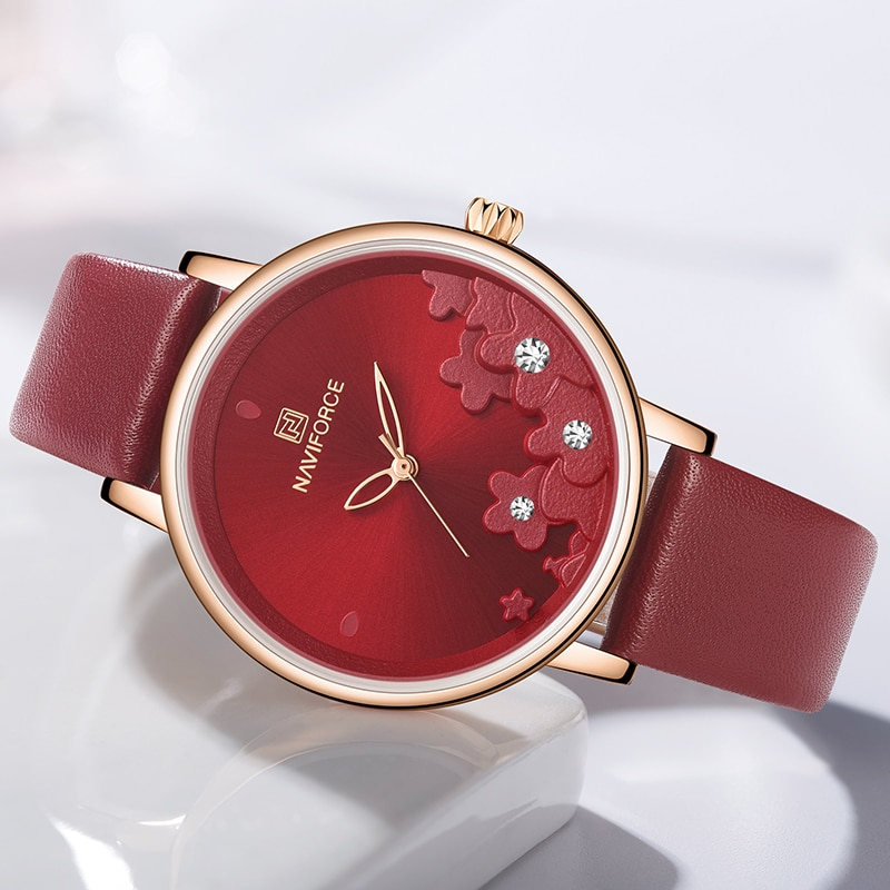 NAVIFORCE Luxury Top Brand Women Watch Fashion Red Waterproof Wristwatch Leather Band Quartz Watches Dress Bracelet Clock 2020 enlarge