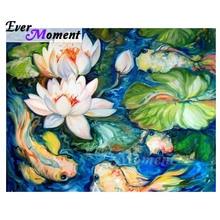 Ever Moment Diamond Painting Fish White Lotus Water Artwork Full Square Drill Cross Stitch Diamond Embroidery Decor S2F2474
