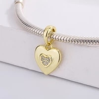 fashion 925 sterling silver custom gold plated cubic zirconia heart shaped charm bracelet diy jewelry making for pandora