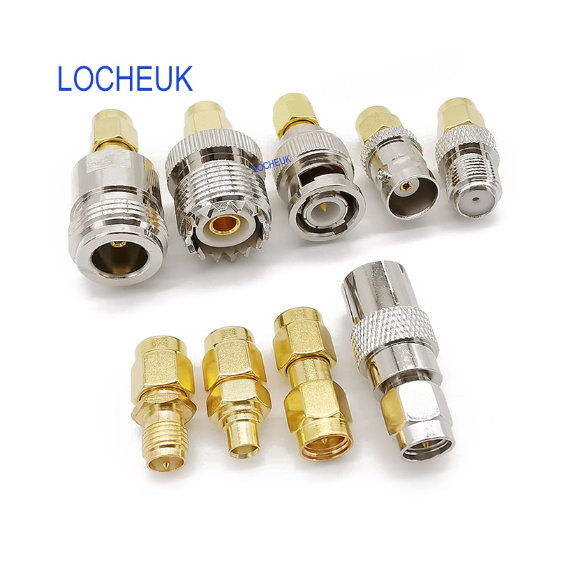 9 tipo rf adaptador conector kit sma macho plugue para bnc/n/f/mcx/sma/uhf/tv/tnc fêmea jack rf cabo de extensão coaxial fpv zangão
