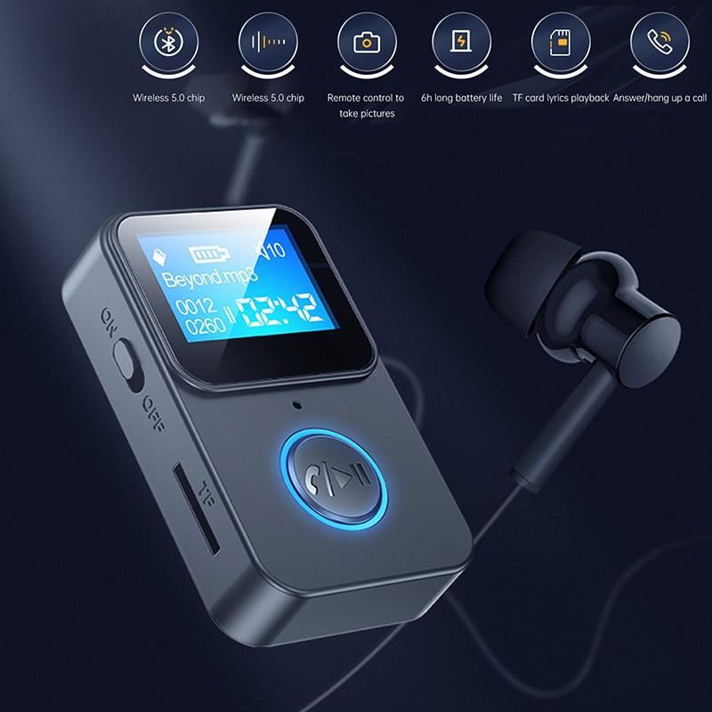 Bluetooth 5.0 Receiver LED Display MP3 Music TF Player Wireless Handsfree Audio Receiver FM Transmit