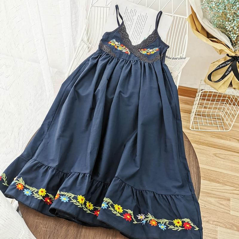 2020 vestido largo suelto bordado Floral cuello en V Casual Streetwear Patchwork estilo coreano Femenino 4 colores vestidos volantes