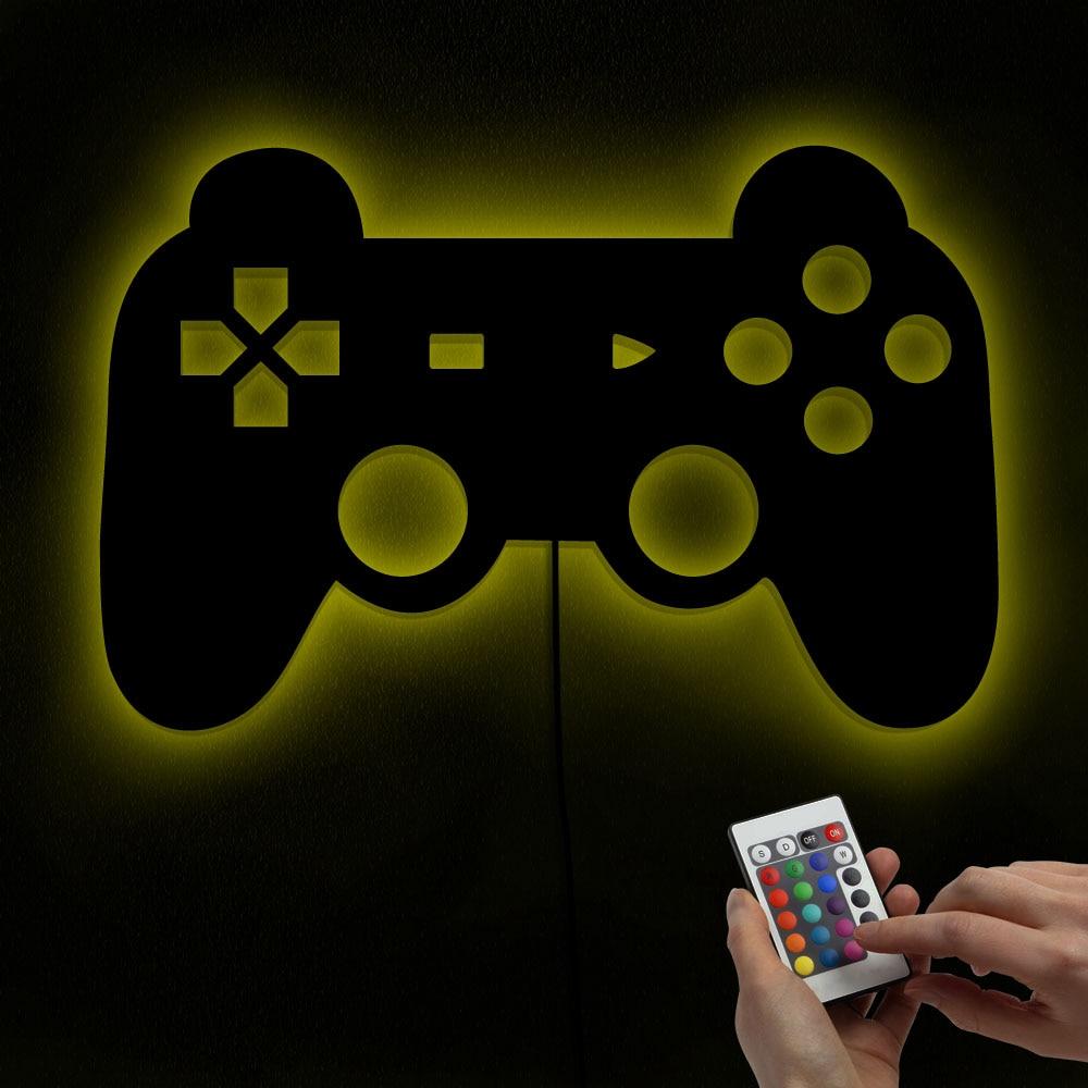 مرآة تحكم بلاي ستيشن مع إضاءة LED متغيرة اللون ، مرآة مع أضواء ، عصا تحكم ألعاب فيديو فنية ، ملصقات غرفة الأطفال ، مصباح الحضانة