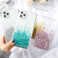 silicon phone case for iphone 11 case fahion bling glitter fundas for iphone 12 pro max mini xr xs 7 8 plus 6 6s se 2020 covers
