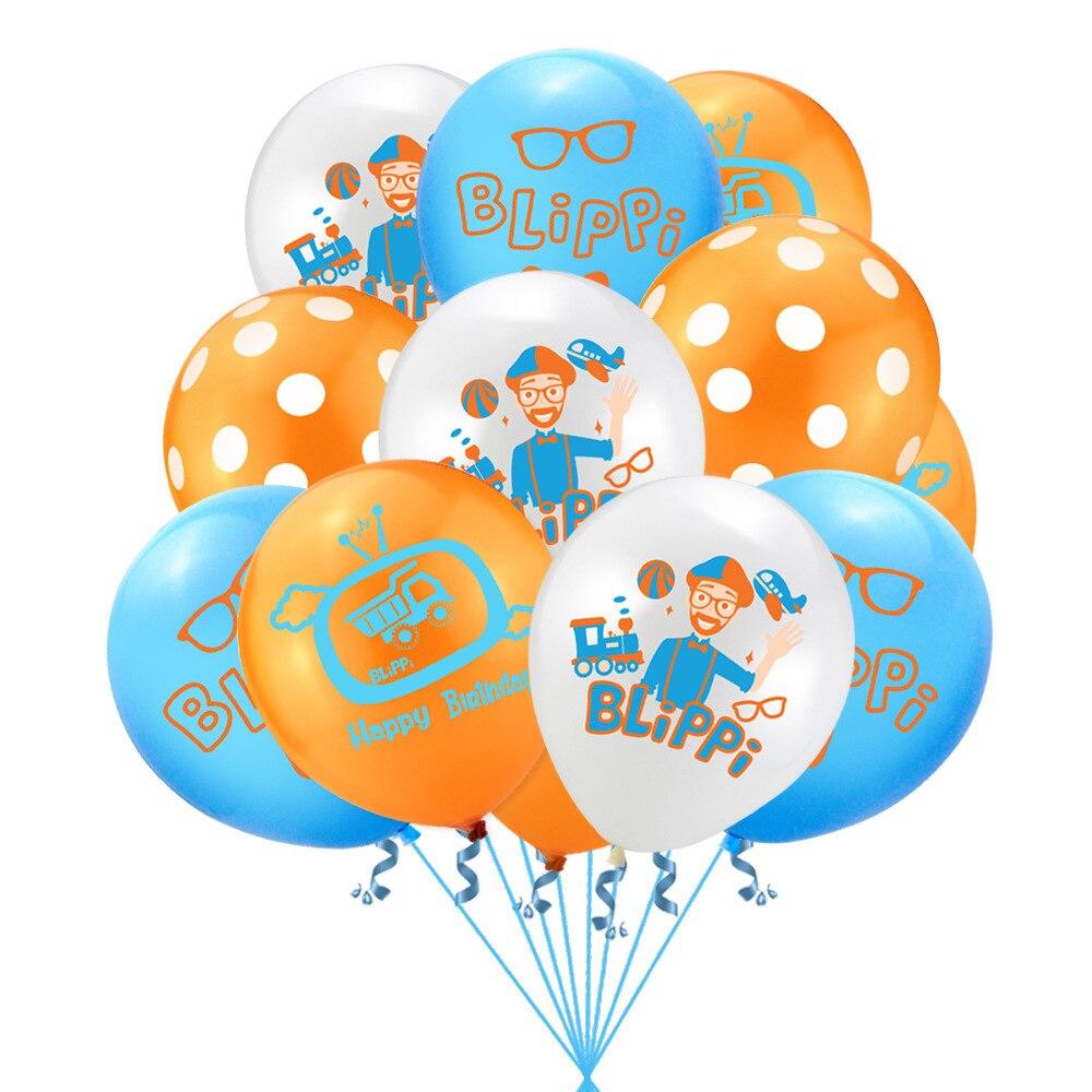 Blippi azul laranja tema 100 pçs 12 polegada látex balão de festa de aniversário do bebê decoração crianças brinquedo suprimentos