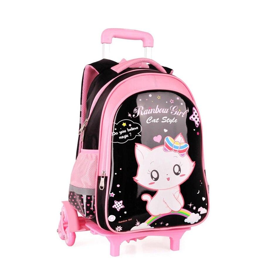 Mochilas de 3/6 ruedas para niños mochilas de viaje desmontables para niñas