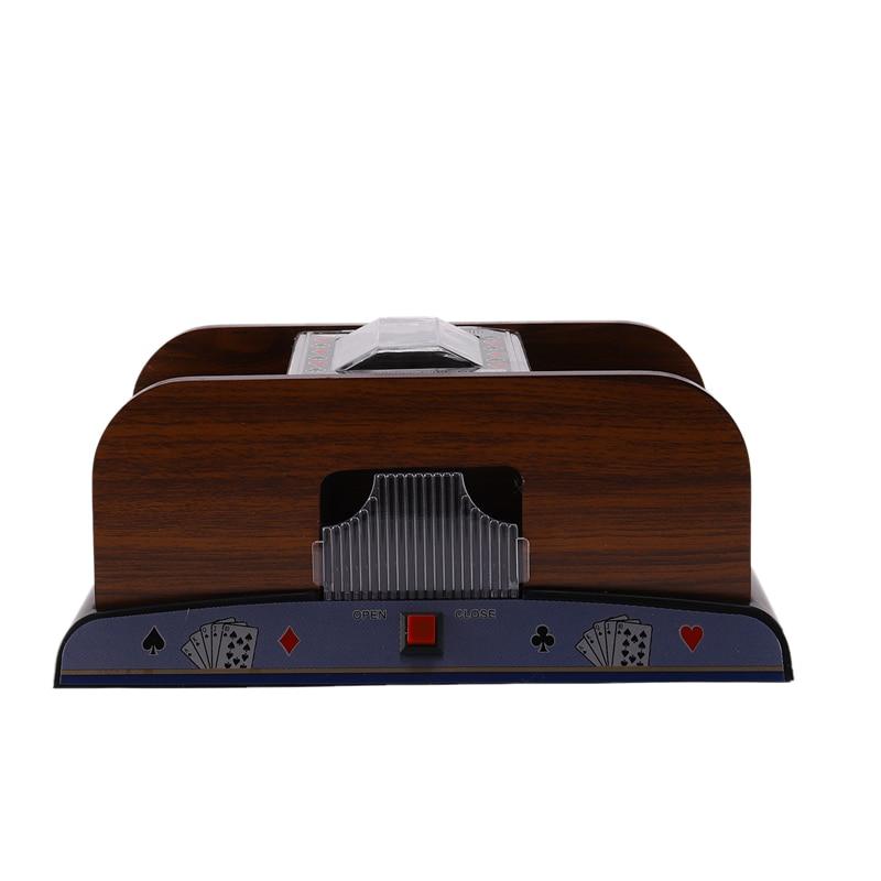 Juego de mesa póquer Casino de madera automático naipe Pocker Shuffler soporte 2 Deck Poker
