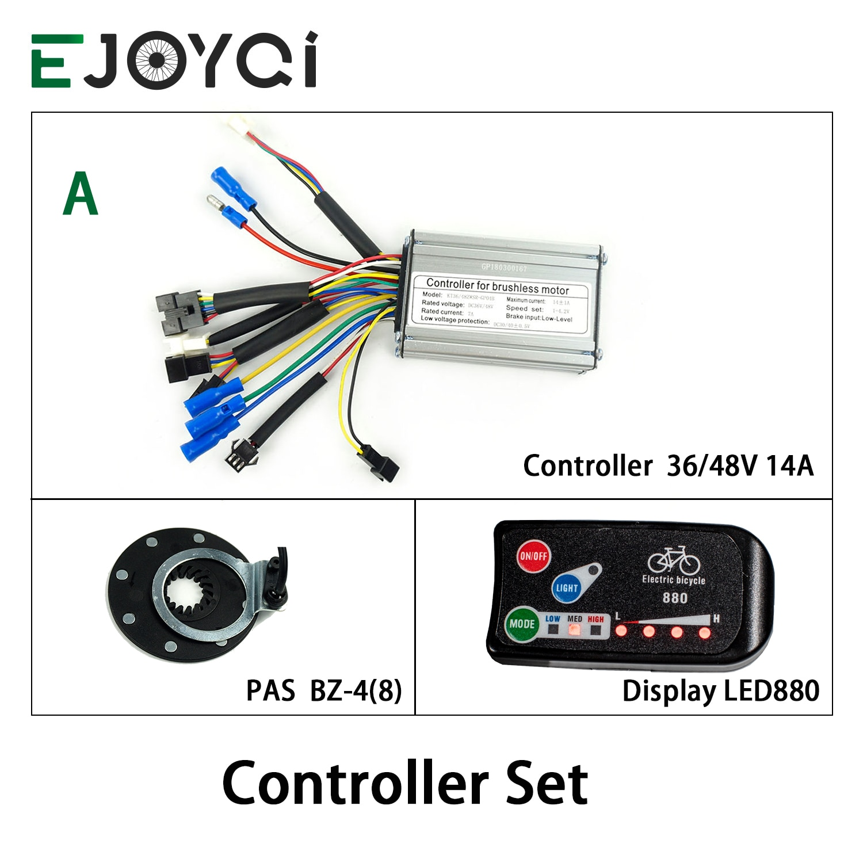 KT 36V 48V 14A 250W 350W Controller Dual Modus Halle Sensor LED880 Display Meter PAS Set E-bike Conversion Kit