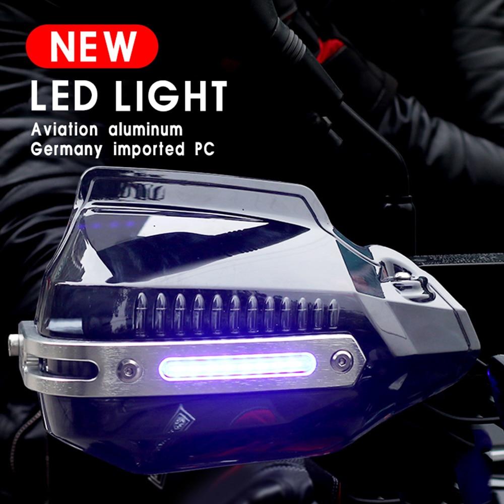 واقيات اليد للدراجات النارية ، مع ضوء LED ، مقاوم للرياح ، لـ yamaha banshee r6 2008 fz1n pride 125 pw 50 r6 2017