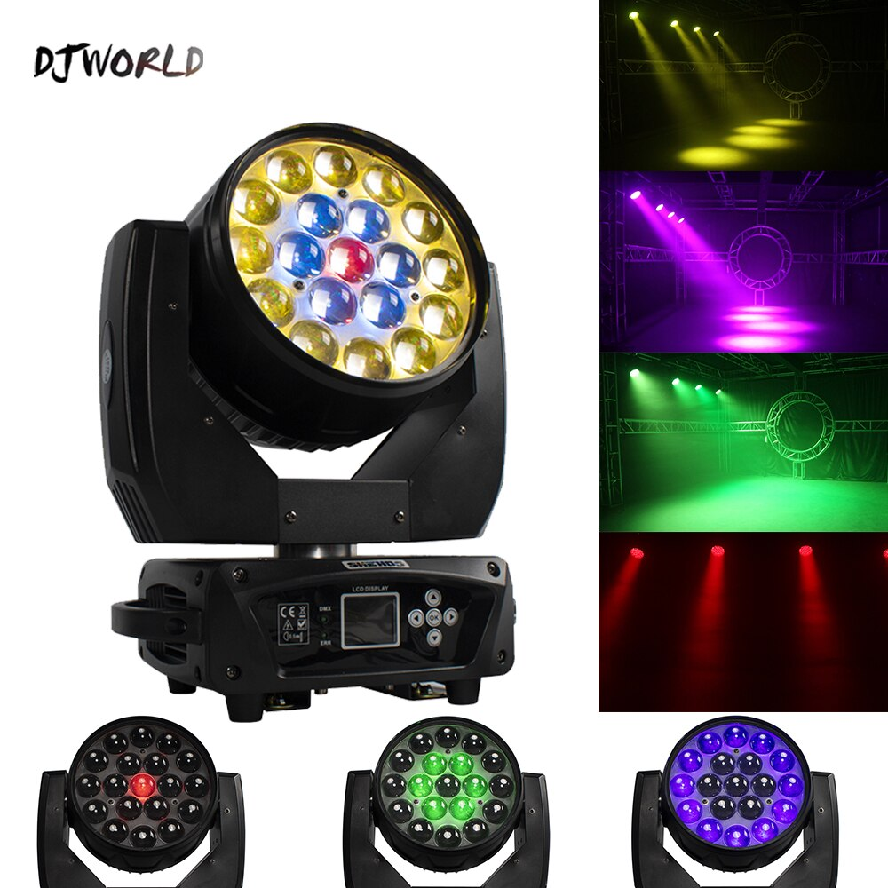 2шт% 2Flot LED 19x15W RGBW Zoom Lighting 1-6-12circle control Moving Head Light Stage Light For DJ Disco Light Home Party Bar