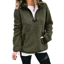 Sweat à capuche pour femme zippé Teddy polaire à manches longues chemise décontracté automne hiver sweats col roulé pulls poches Moletom GV874