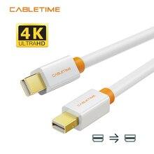 Câble de câble daffichage de moniteur dordinateur de Mini DP à DP de Cabletime adaptateur de dp pour laffichage de Macbook/Mac Lenovo Dell 4K 2m 3m N021