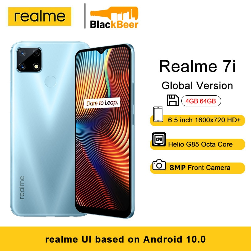 Перейти на Алиэкспресс и купить Realme 7i 4G 6,5 дюйммобильный телефон на Android MTK Helio G85 смартфон 4 ГБ ОЗУ 64 Гб ПЗУ мобильный телефон 48MP Al камера 18 Вт Быстрая зарядка 6000 мАч