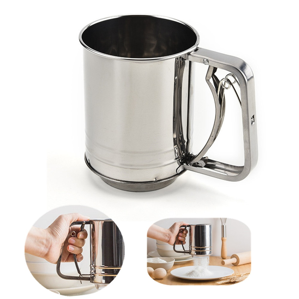 High Quality Stainless Steel Mesh Flour Sifter Mechanical Baking Icing Sugar Shaker Sieve Cup Shape Bakeware Baking Pastry Tools